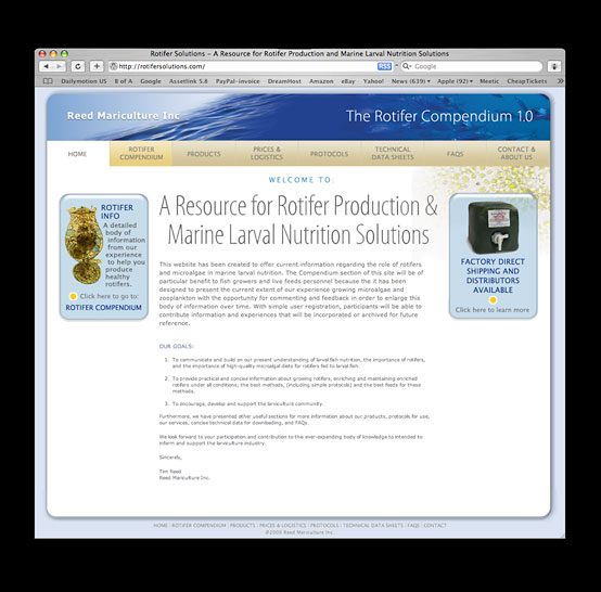 RMI Rotifer Soulutions Website image